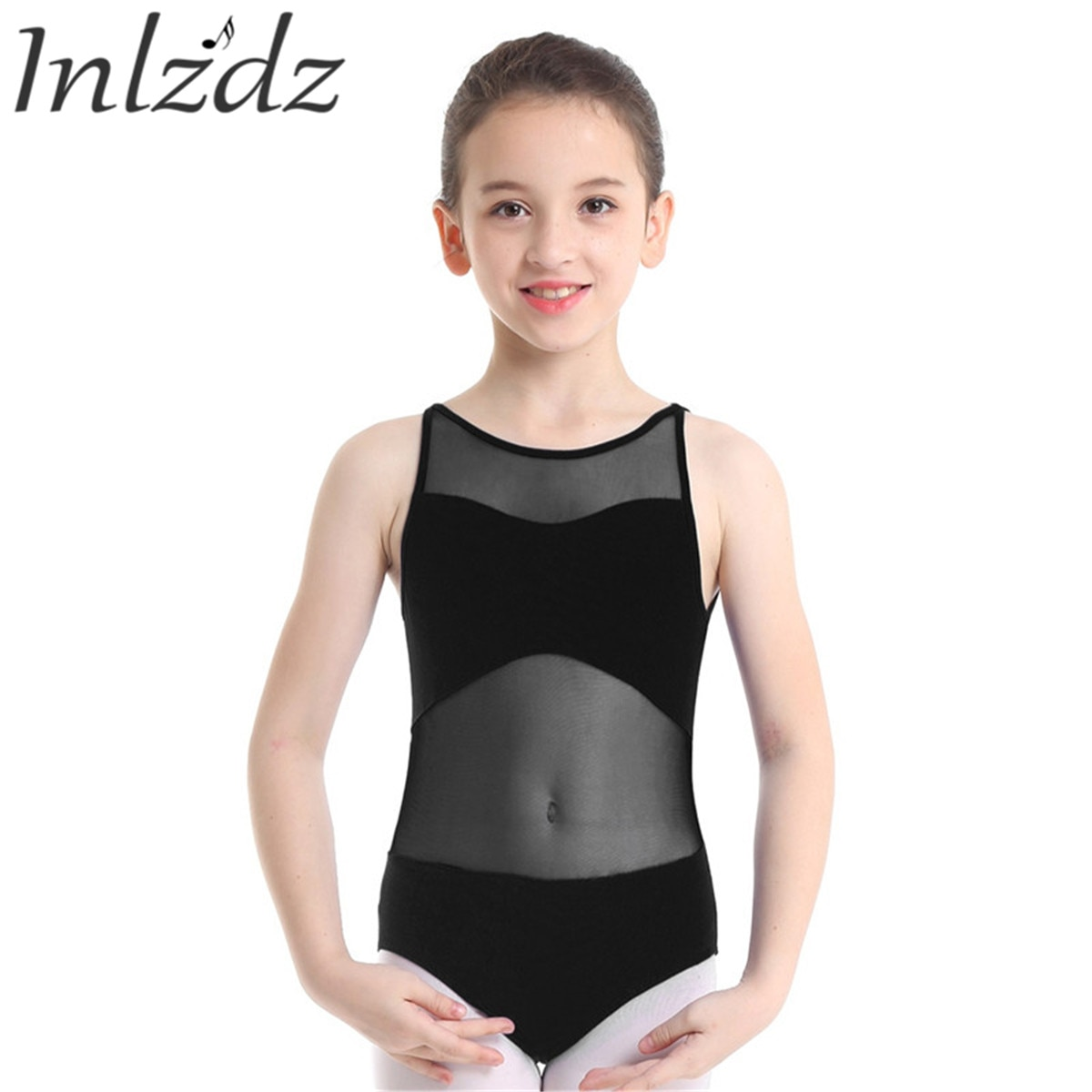 Leotardo de Ballet para niños niñas, traje de baño de gimnasia para bailar, traje de baño Bodi transparente de malla, bailarina, tutú, leotardo, Ropa de baile