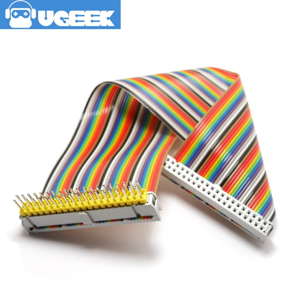 UGEEK 2*20 pin macho A hembra GPIO cable para Raspberry Pi A + B + 3B 3B + 2B 4B cero 40pin Arco Iris cable   20c