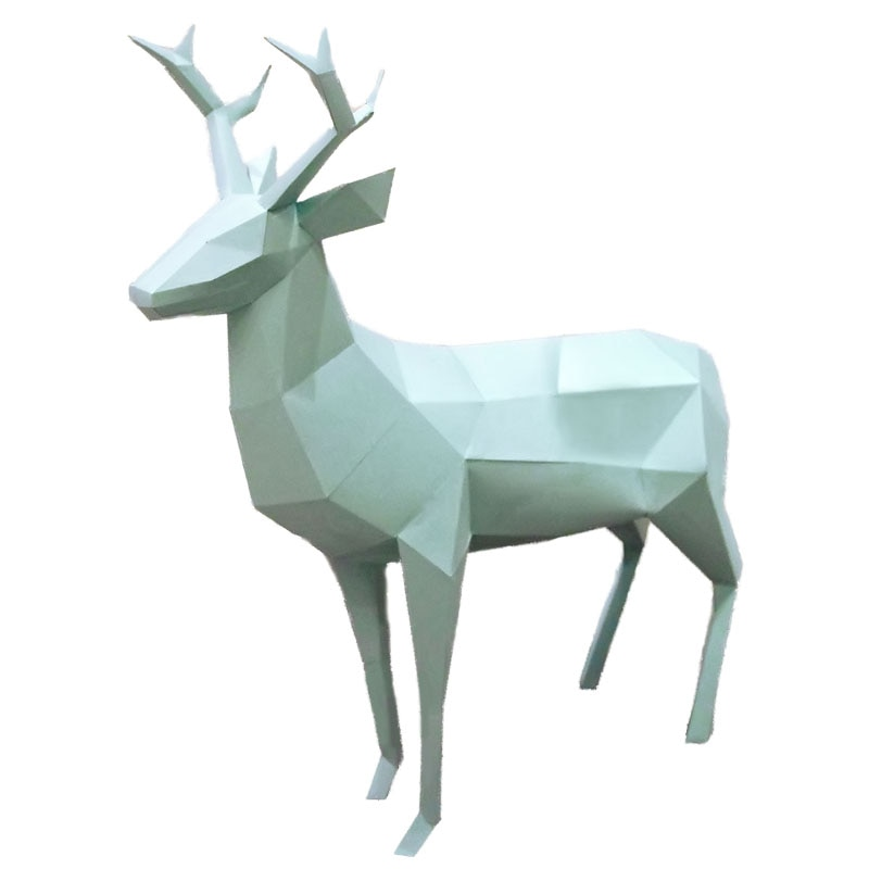 Modelo de papel 3D ciervo manualidades de papel animal decoración del hogar pisapapeles rompecabezas Arte de papel regalo de cumpleaños para niños juguetes educativos DIY