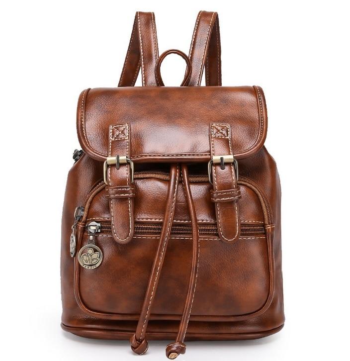 Fashion women fashion designer brand backpacks vintage pu shoulder bag retro small lady schoolbag mochila cute bags