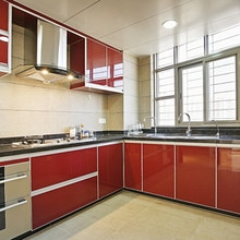 RAYUAN-autocollant Mural auto-adhésif   Papier peint rouge brillant, imperméable, revêtement détagère, décor de cuisine murale