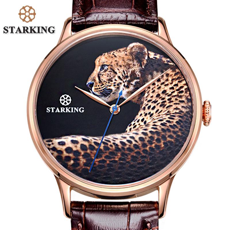 Relógios de Pulso Relógio de Negócios Starking Nova Chegada Moda Masculina Relógio Automático Luxo Design Superior Leopardo Dial Masculino Aço