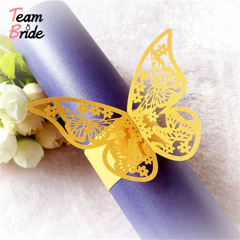 Equipo novia 50 piezas mariposa servilletas anillos perla papel toalla hebilla hueco soporte boda fiesta Mesa decoración papeles