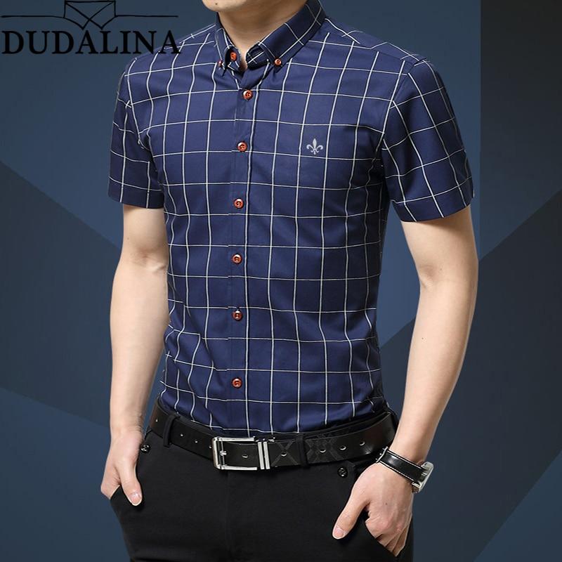 Dudalina Plus Size 5XL 2020 Summer Fashion Men's Short Sleeve Cotton Social Shirts Plaid Checked Shirt for Men Brand Chothing