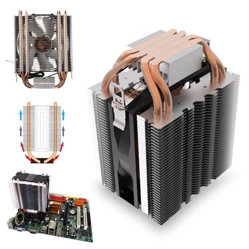Enfriador de CPU ventilador 4 Heatpipe radiador LED azul hidráulica teniendo tranquilo 3pin CPU ventilador de disipador de calor para Intel LGA1156/1155/1150