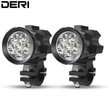 DERI 2PCS 60W Motorcycle LED Headlight Driving Light Fog Lamp Spot White Motor scooter snowmobile ATV Spotlight faretti led moto