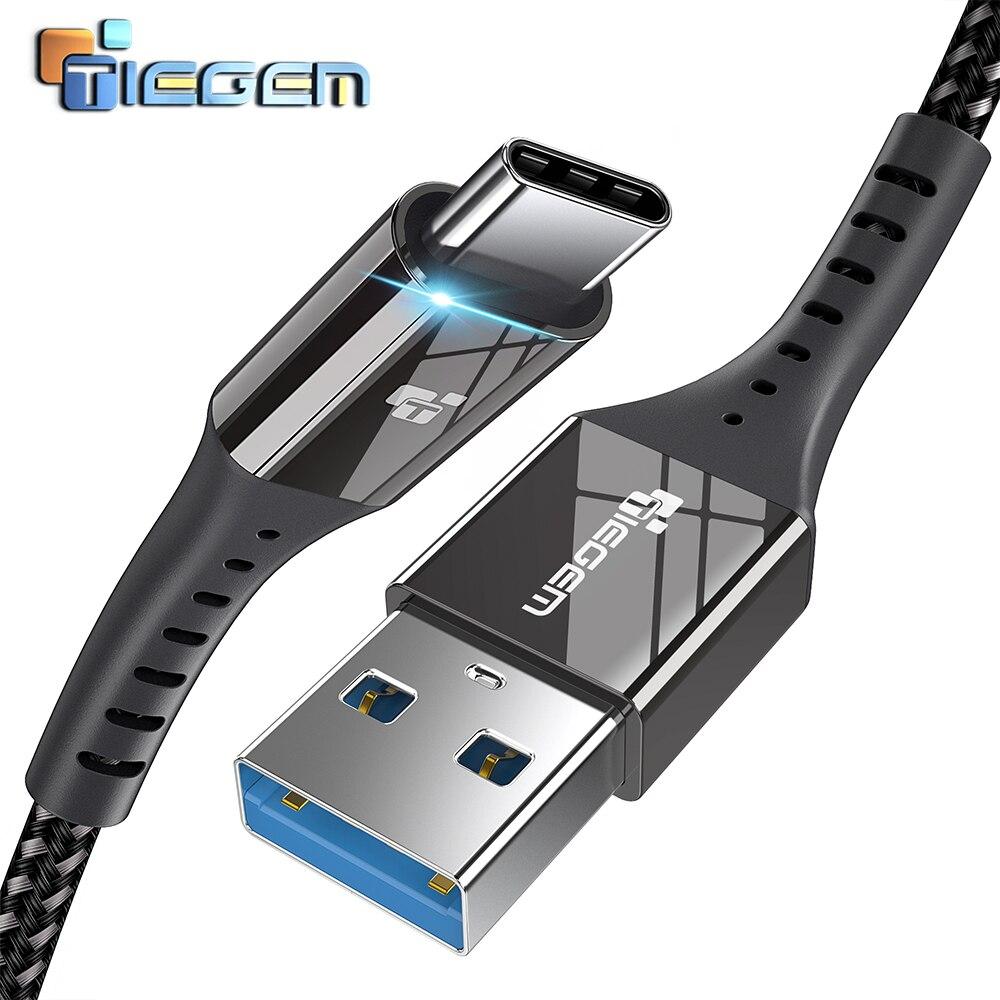 TIEGEM USB 3,0 tipo C Cable 3A USB C Cable para Samsung S9 S8 Plus Note 8 9 Cable USB tipo-c de carga rápida para Huawei P9 P10 P20