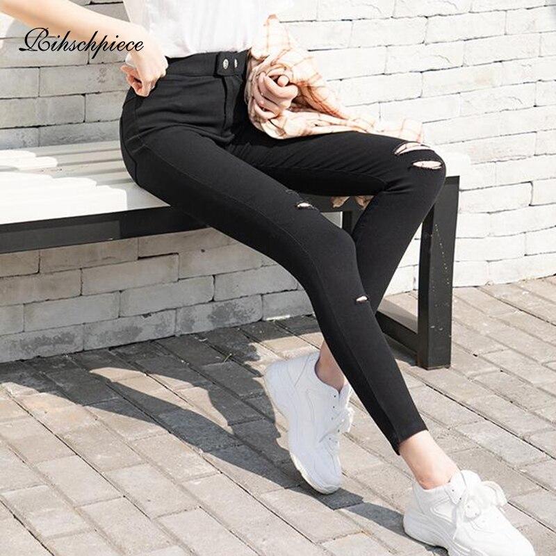 Rihschpiece de talla grande 6XL Leggings mujeres pantalones con diseño rasgado de alta cintura Punk Jeggings legging con bolsillo Slim pantalones RZF1644