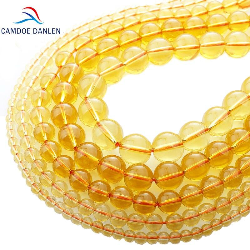 Grânulos redondos de cristal de rocha amarela de pedra natural de camdoe danlen aaa 4-12mm caber diy grânulos de homem gril para fazer jóias