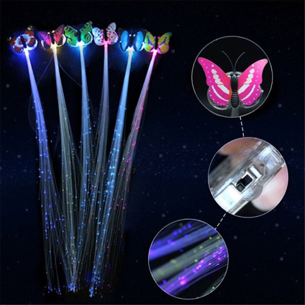 Horquilla de fibra LED de 35x7cm, diadema iluminada para fiestas, suministros luminosos, trenzas de pelo brillante LED, pasador Flash 1 pieza