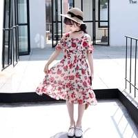 girls dress children 2021 summer beach off shoulder chiffon flower princess party dresses for girls clothes 4 6 8 10 12 13 years