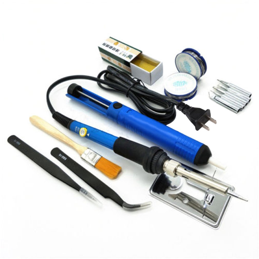 60 W 200-450 grados de temperatura ajustable de la soldadura eléctrica de soldadura de hierro Kit de herramientas con Solding de pinzas de desoldadura bomba