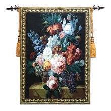 Tapisserie en tissu jacquard belge 100x138cm   Peinture pastorale européenne fleur nature morte, peinture fruits, tapis mural,
