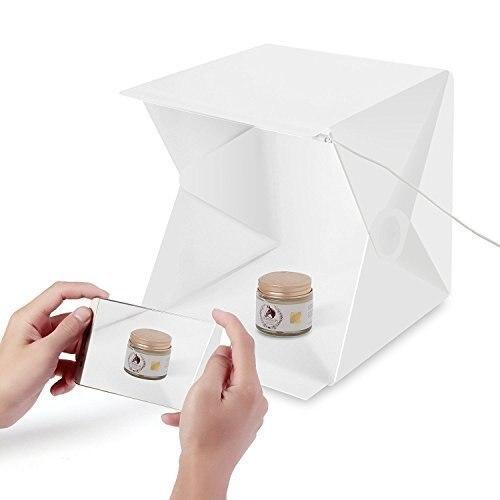Photo Studio 40cm 40cm  Photo Box Light Tent Mini  Foldable Photography Studio Kit with LED Light  2 BackgroundsWhite& Black