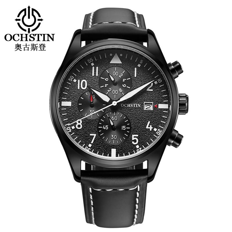 OCHSTIN reloj de trabajo exterior subdial 3ATM hombres reloj de cuarzo a prueba de agua cronógrafo reloj de pulsera deportivo de cuero hombres reloj Masculino