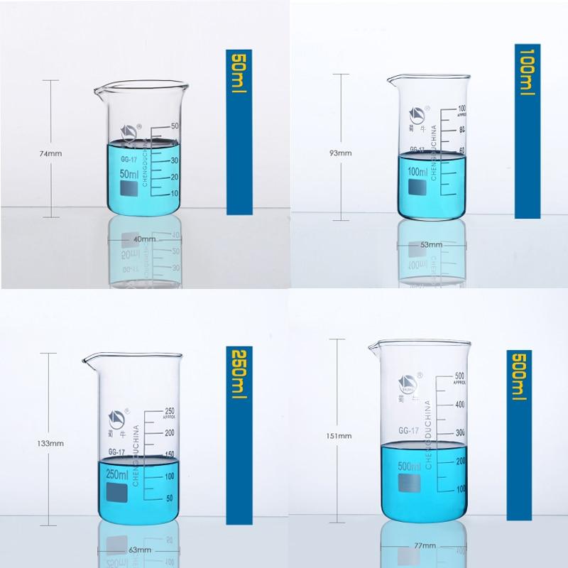 1set (50ml,100ml,250ml,500ml) Borosilicate Graduated Glass Beaker in tall form glass measure cup Laboratory Equipment