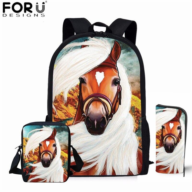 FORUDESIGNS 3d Horse Backpacks for Kids Boys School Bag Children Daily Bagpack for School 3pcs/Set Crazy Horse Back Pack