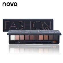NOVO Marke Mode 10 Farben Schimmern Matt Lidschatten Make-Up Palette Licht Lidschatten Natürliche Make Up Kosmetik Set Mit Pinsel