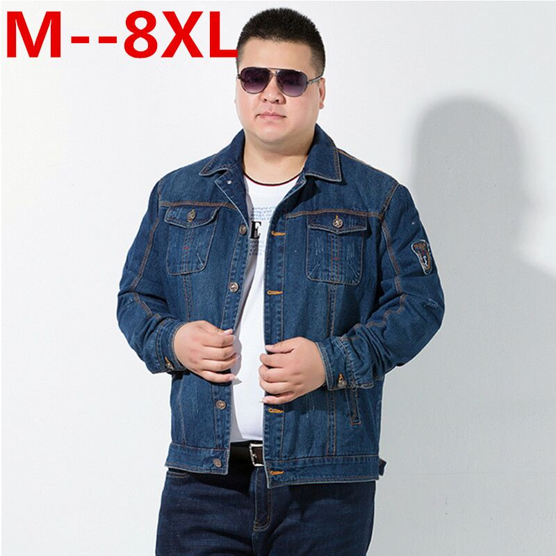 جاكيت جينز رجالي ، جديد ، ياقة مقلوبة ، نحيف ، عصري ، ملابس خارجية ، مقاس 10XL ، 8XL ، 6XL ، 5XL ، 4X ، ربيع وخريف
