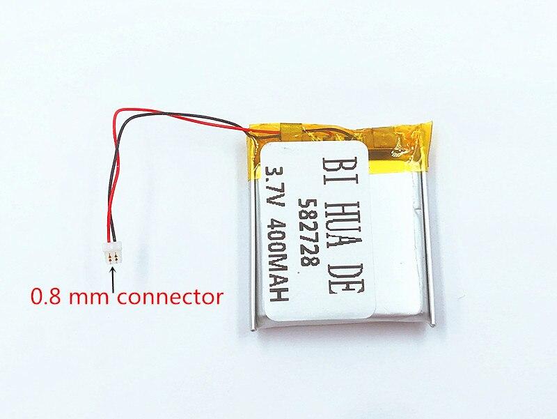Li-Po a 582728 de 3,7 V 400 mAh batería recargable de li-batería de polímero de iones de litio para Q50 G700S K92 G36 Y3 relojes inteligentes mp3 582828, 602828