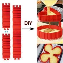 4 pçs/set Cobra Silicone Bolo Molde de Cozimento DIY Coração Praça Retangular Forma Redonda Bakeware Molde Do Bolo de Pastelaria Ferramentas 19*5.5CM