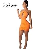 kakan summer new womens dress sexy hanging neck backless irregular bag hip dress orange wine red green black dress