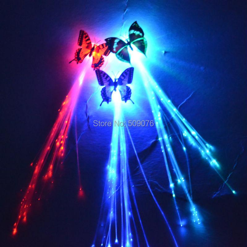 10 pçs/lote borboleta led fibra óptica trança Perucas headband do Hairpin Decoração Favores Do Partido do Dia Das Bruxas Natal Bar Boate