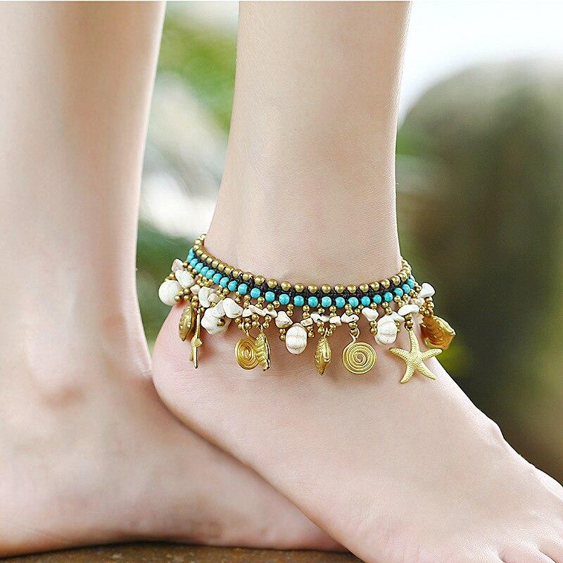 Tobilleras de pierna para mujer pulsera de tobillo hecho a mano de cobre con cuentas piedras campana mujer tobillera mujer pie joyería Concha pez estrella de mar