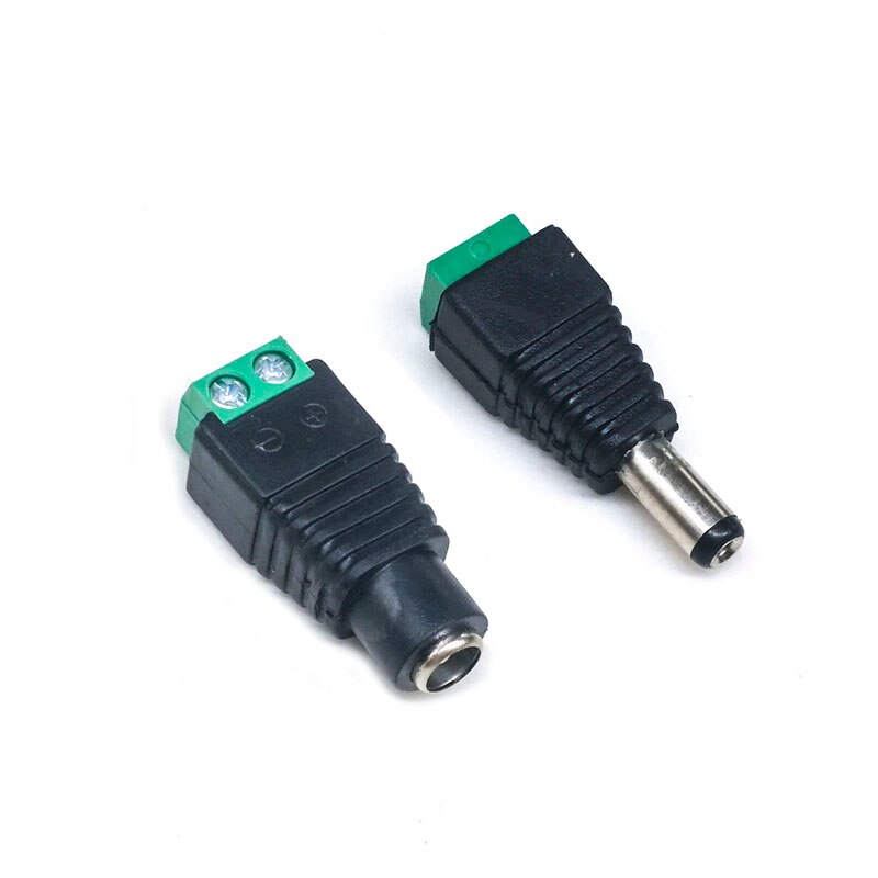 2piece DC 5.5*2.1MM Male And Female 12V Solderless Converter  Connector Plug CCTV Jack Socket Plug Terminal Blocks
