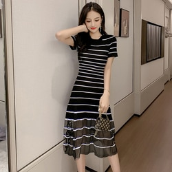 Coreano 2019 Moda Vestidos de Mulher Alta Wiast Casual Breve Vestido de Verão Malha Listrada Solto Vestidos De Fiesta