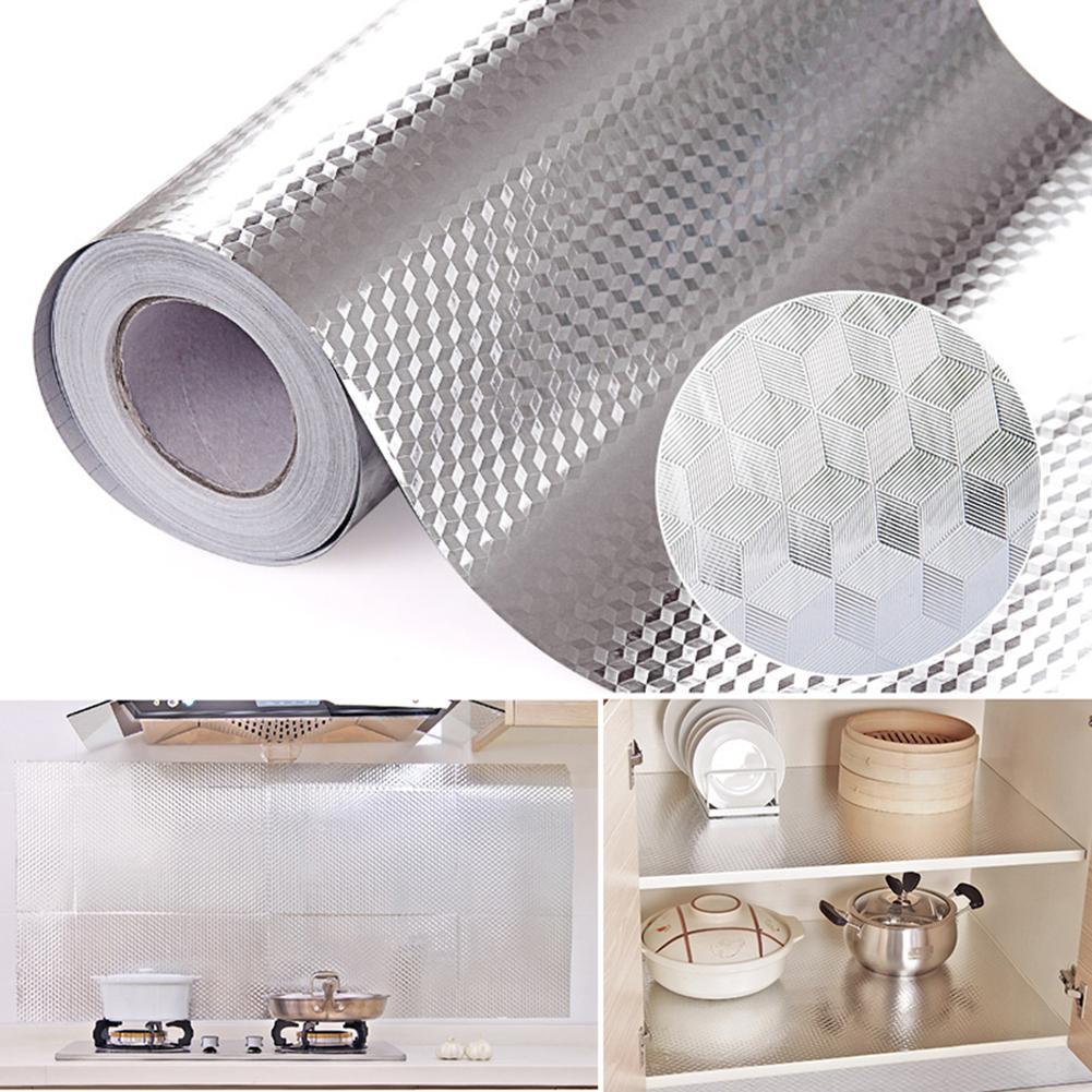 "Pegatinas de cocina papel de aluminio adhesivo autoadhesivo impermeable para muebles 16 ""x 39,5"""