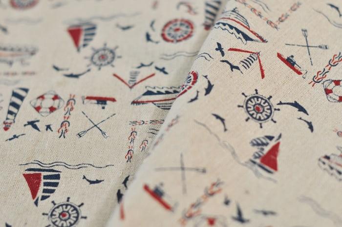 Newest150x50cm estilo marinero zakka tela de algodón de lino, tela de retazos para costura DIY, manteles de lino para cama, telas para sofá