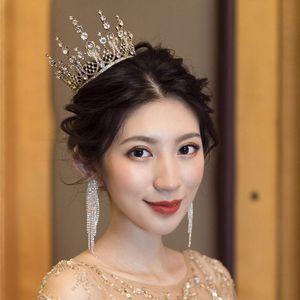 Brides Shiny Crystal Jewelry Set Headwear Crown Wedding Exquisite Jewelry Evening Dress Accessories Show Round Head Tiaras XL088