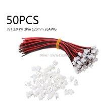 Mini Micro JST 2.0 PH 50 lots   Connecteur à 2 broches avec câbles fils 120MM 26AWG nouveau S18 vente en gros et livraison directe