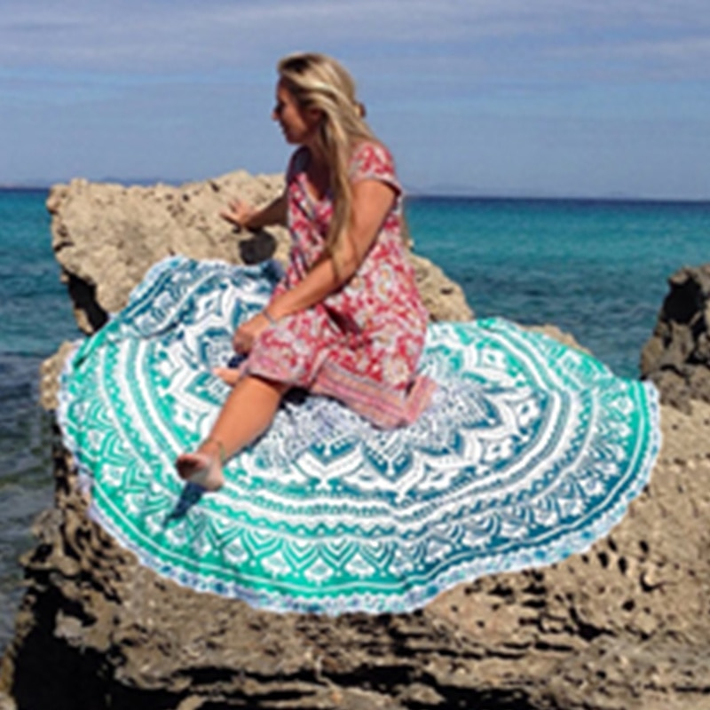 Toalla de playa de baño redonda Roudie Mandala indio tiro Hippie Multi Color tapiz verde en forma de flor gran oferta
