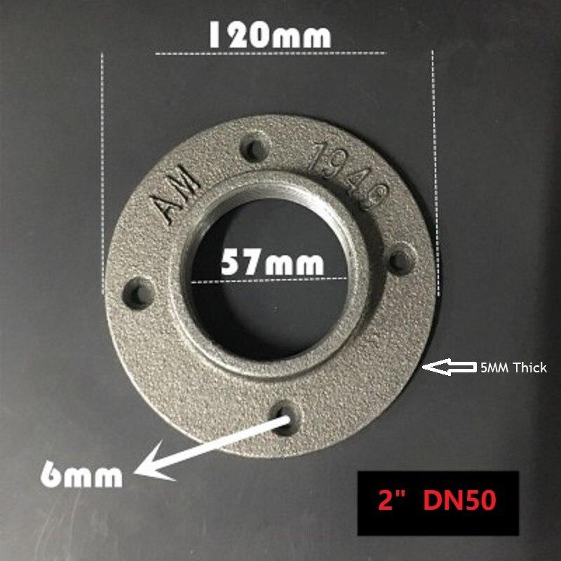 """2 unids/lote Retro suelo de montaje en pared de rosca bridas de hierro fundido antiguo brida Base soporte para tubo G2 """"DN50"""