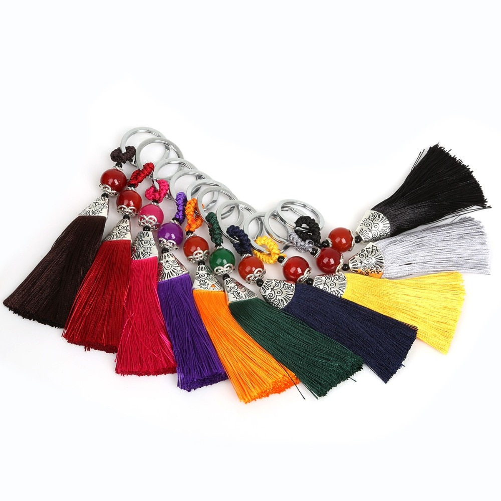 1PCS Fashion Tassel Chain women Cute Tassel KeyChain Bag Accessory Rayon Polyester Tassels Fringe Car Key Ring Jewelry 28*130mm