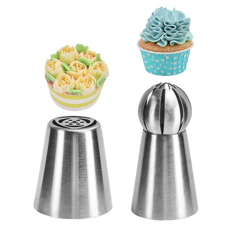 Embout sphérique russe en acier inoxydable pour glaçage pâtisserie, embouts de cuisson Cupcake Fondant, 2 pièces/ensemble