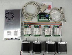 Kit de roteador cnc 4 eixos, 4 pces tb6600 4.5a driver de motor deslizante + 4 pces nema23 270 onz-no motor + 5 placa de interface de linha central + fonte de alimentação