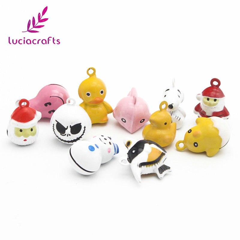Lucia handwerk 6 teile/los 15-25mm Zufall Mixed Nette Cartoon Jingle Glocke Anhänger Hängende DIY Für Weihnachten Baum dekoration H0208