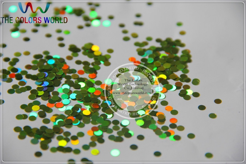 LM-61 tamaño 3 mm láser holográfico color verde claro paillette de brillo en forma de punto lentejuelas para arte de uñas y suministros DIY 1 paquete = 50g
