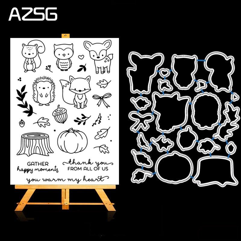 AZSG animales de dibujos animados lindo de corte de Metal muere y conjunto de sellos transparentes para el álbum para recortes de fotos decorativas en relieve Stencial