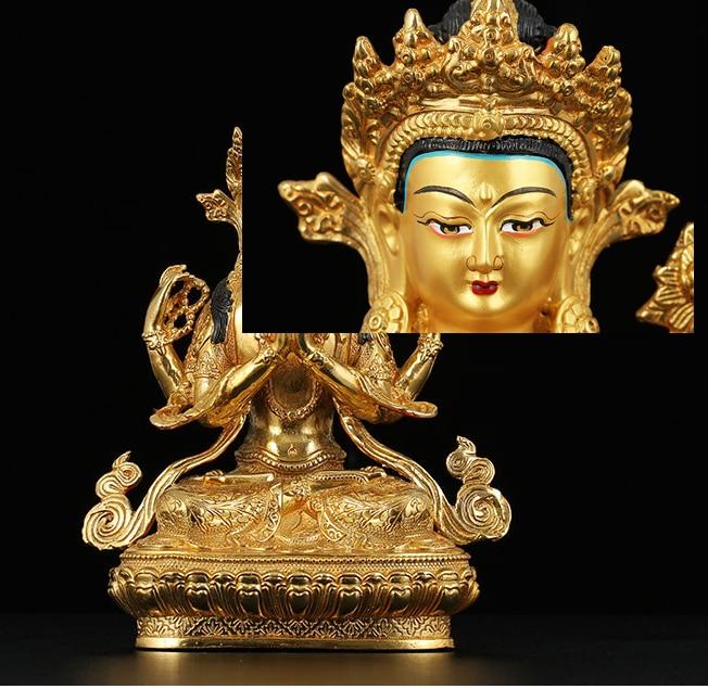 8 pulgadas # buen Budismo de Buda bendice la salud de la familia salud riqueza eficiente oro Shadakshari Buddha Buda