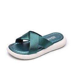 Mädchen Schuhe 2019 sommer neue satin flache hausschuhe nicht-rutsch kinder mode prinzessin schuhe sandalen große kdis Casual hause hausschuhe 26-36
