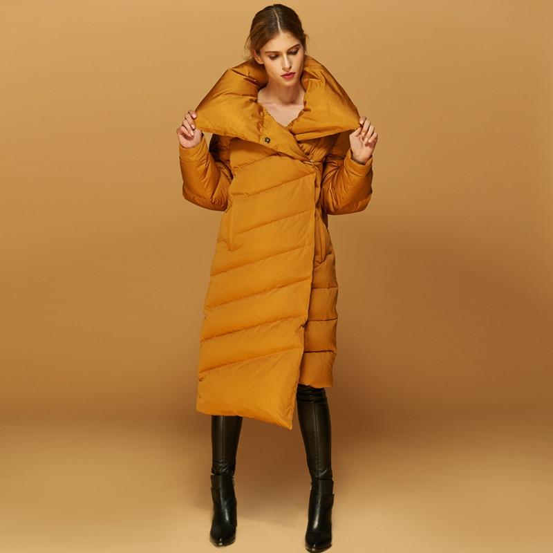 High Quality European Chic Women's Winter Jackets Long Thick Warm White Duck Down Coats Comfortable Bread Outwears Coats AO020