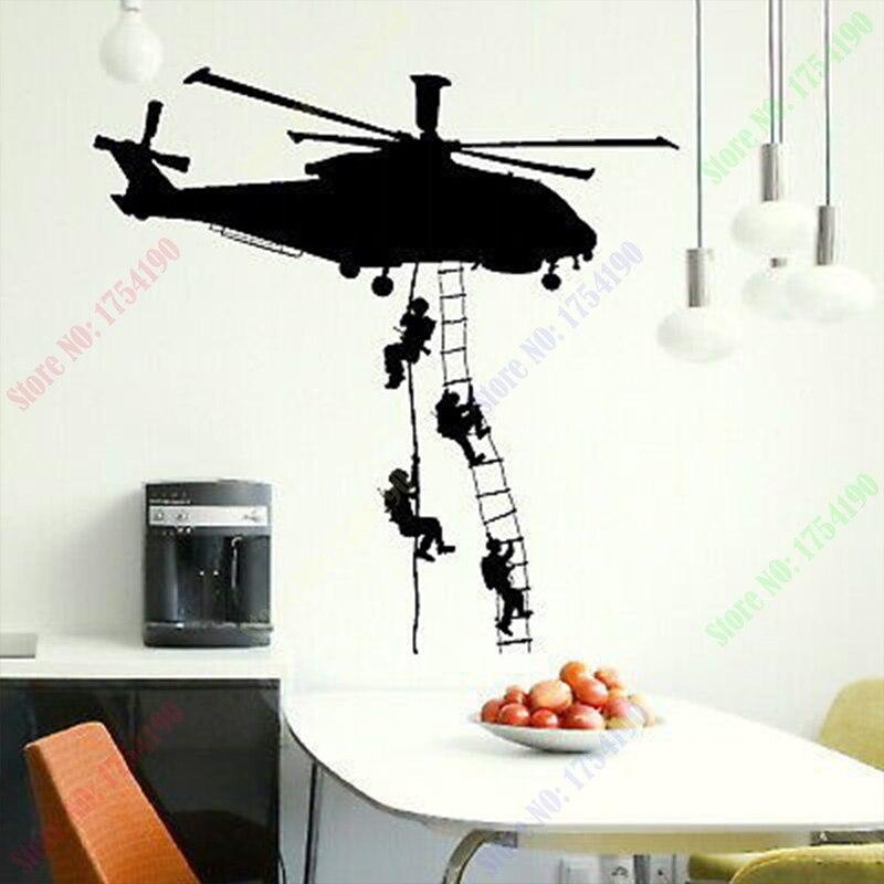 Бесплатная доставка, новая армейская наклейка на вертолет, клейкая виниловая настенная наклейка, художественные наклейки для мальчиков, спальни, гигантские Морпехи, настенное украшение для дома