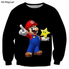 Classic Cartoon Cute Super Mario 3D Print Sweatshirts Men/Women Hip Hop Streetwear Pullover Coat Outerwear Boy Black Clothes Top