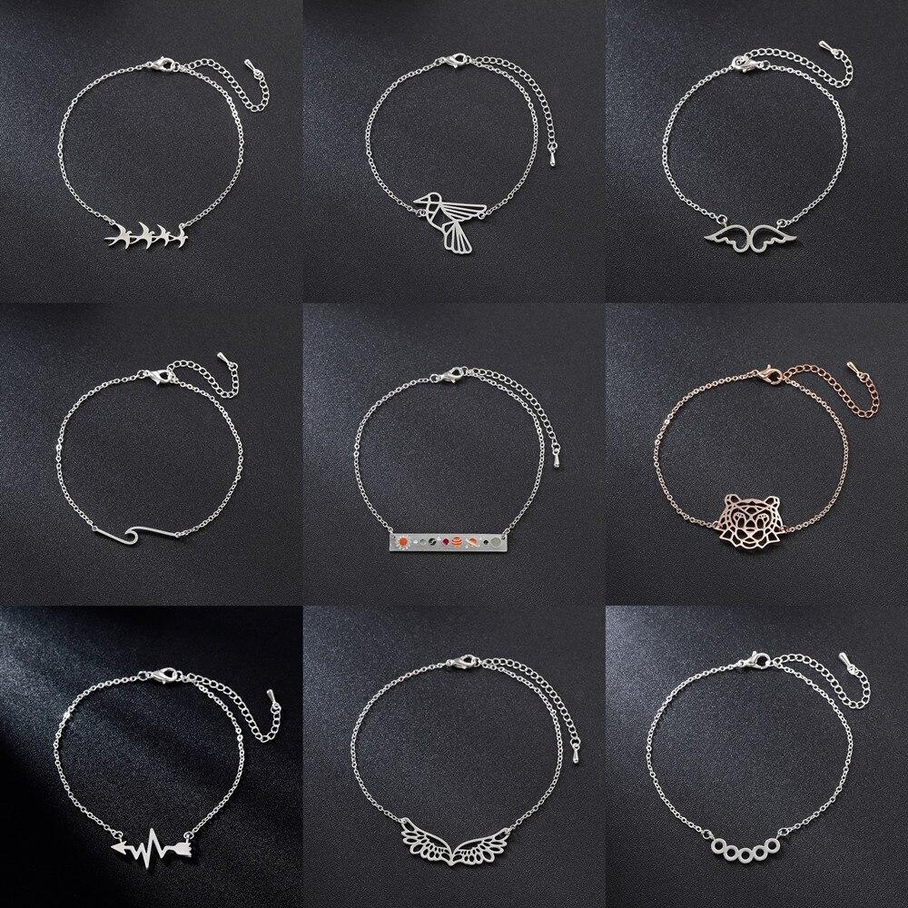 Pulseira feminina de aço inoxidável tigre pássaro ângulo asas onda batimento cardíaco pulseiras geométricas pulseiras moda jóias barato