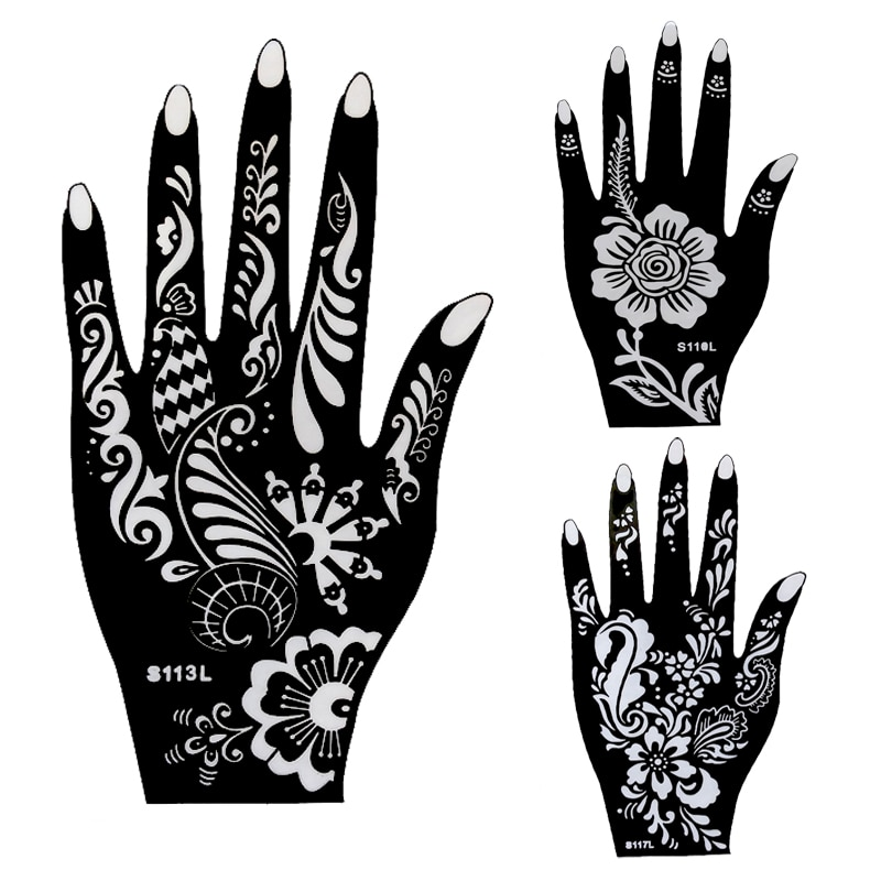 10pcs Large Henna Tattoo Stencils,Flower Glitter Airbrush Mehndi Indian Henna Tattoo Templates Stencil For Hand Painting 21*12cm