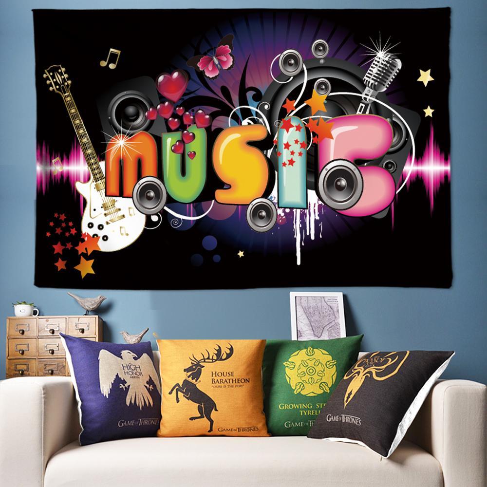 Rock Music Bar decoración de fiesta tapiz Anime tapiz de pared Hippie psicodélico tapices Boho decoración Tenture Tapisserie grande